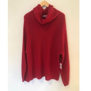 Vince Camuto Oversized Cowl Neck Red Sweater Large